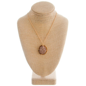 """Earring and necklace set included-Long natural stone gold necklace with bead details. Approximate  18"""" in length and 1.5 pendant."""