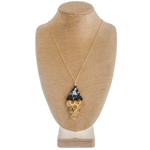 """Flat stud and necklace set. Includes long metal necklace with acetate details and circle charms. Approximate 20"""" in length and 4"""" in pendant."""