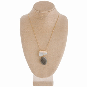 """Long gold metal necklace with natural stone pendant. Approximate 34"""" in length with 2"""" pendant."""