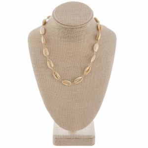 """Gold medium length metal puka shell beaded necklace. Approximately 18"""" in length."""