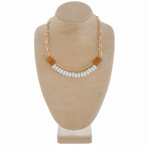"""Long chain linked necklace with curved wood bead details. Approximate 16"""" in length."""