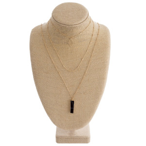 "Multi layered metal necklace with natural stone bar pendant. Approximate 36"" in length."