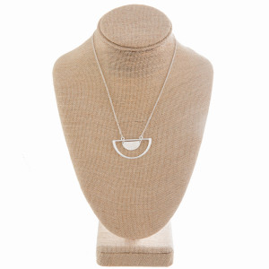 """Long metal necklace with half moon pendant. Approximate 14"""" in length with 1.5 pendant."""