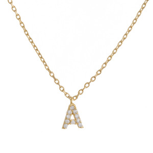 "Gold dipped necklace with initial ""A"" pendant. Approximate 20"" in length with 0.5"" pendant."