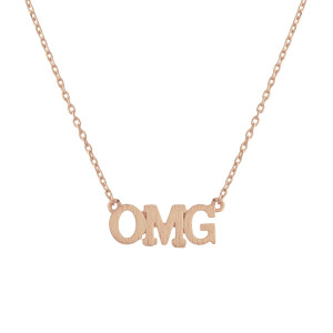 "Metal necklace with small ""OMG"" pendant. Approximate 18"" in length with 1"" pendant."