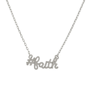 "Metal necklace with small ""#faith"" pendant. Approximate 18"" in length with 1"" pendant."