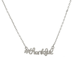 "Get your favorite #hashtag jewelry with a positive inspirational message. Gorgeous metal necklace Approximate 18"" with 1"" pendant. #Thankful"