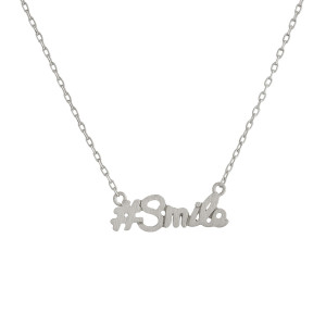 "Metal necklace with small ""#Smile"" pendant. Approximate 18"" in length with 1"" pendant."