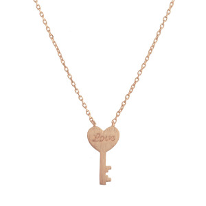 "Gorgeous necklace with small key pendant with love engraved. Approximate 20"" in length with .5"" pendant."