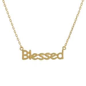 "Metal necklace with small ""Blessed"" pendant. Approximate 18"" in length with 1"" pendant."