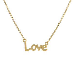 """Metal necklace with small """"Love"""" pendant. Approximate 18"""" in length with 1"""" pendant."""