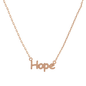 "Gorgeous short inspirational message necklace.  Approximate 18: with 1"" pendant.  Hope"