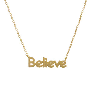 "Gorgeous short inspirational message necklace.  Approximate 18: with 1"" pendant.  Believe"