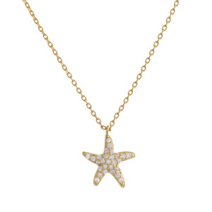 "Gold dipped necklace with small starfish pendant. Approximate 20"" in length with .5"" pendant."