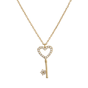 "Gold dipped necklace with small heart-shaped key pendant. Approximate 20"" in length with .5"" pendant."