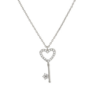 """Gorgeous gold dipped necklace with small heart shaped key pendant. Approximate 20"""" in length with .5"""" pendant."""