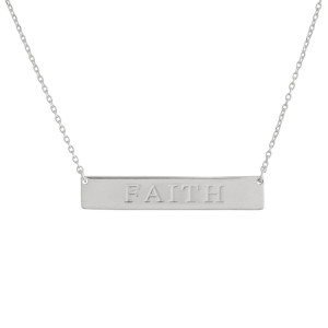 "These bar necklaces are prefect with any outfit. Gorgeous dipped in gold necklace with bar and ""Faith""  engraved message. Very gorgeous and light weight. Approximate 16"" in length. .1"" pendant."