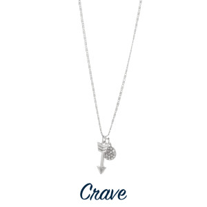 """Gorgeous short necklace with arrow pendant and rhinestone charm.  Approximate 18"""" in length with 1.0"""" pendant."""