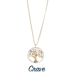 """Gorgeous short necklace with tree of life pendant.  Approximate 18"""" in length with 1.0"""" pendant."""