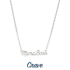 """Gorgeous short necklace with Mama bear pendant. Approximate 18"""" in length with 1"""" pendant."""