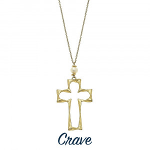 """Long hammered cross pendant necklace with faux pearl detail. Chain is approximately 30"""" long. Pendant is approximately 1.75"""" tall."""