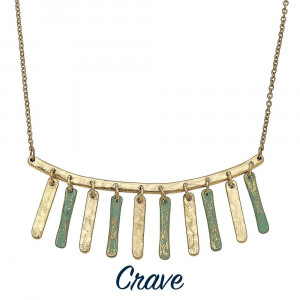 "Short gold tone necklace with patina metal fringe details. Approximately 16"" long."