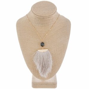 "Long metal gorgeous necklace with fanned tassel pendant with natural stone detail. Approximate 40"" in length. with 3.5"" pendant."