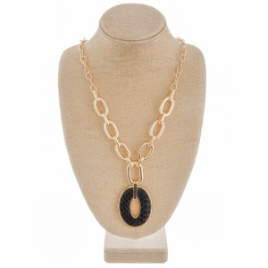 """Long chain linked Y necklace with genuine leather, black snakeskin pendant. Approximate 34"""" in length."""
