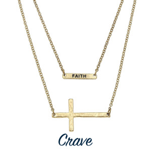 """Long layered necklace with inspirational and cross pendants. Approximate 20"""" in length."""