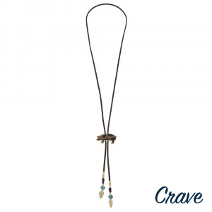 """Long leather necklace with pig pendant, natural stone beads, and gold details. Approximately 32"""" in length."""