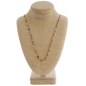 """Long multicolor beaded necklace with gold accents. Approximately 30"""" in length."""