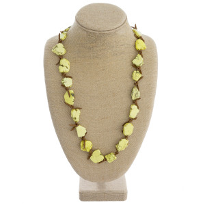 """Long leather natural stone necklace. Approximate 30"""" in length."""