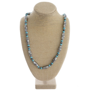 """Long necklace with wood, natural stone, and metal beads. Approximately 36"""" in length."""