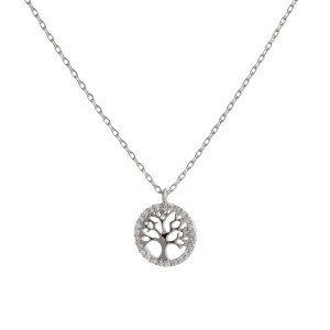 """Dainty silver chain necklace featuring a tree of life pendant with cubic zirconia accents. Approximately 18"""" in length. Pendant is approximately .5"""" in diameter."""