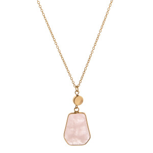 """Long cable chain necklace featuring a natural stone pendant. Pendant approximately 1"""". Approximately 34"""" in length overall."""