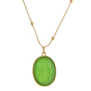 """Dainty satellite ball chain necklace featuring a iridescent acrylic stone pendant. Pendant approximately 1.5"""". Approximately 26"""" in length overall."""