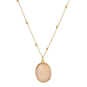 """Dainty satellite chain necklace featuring a iridescent acrylic stone pendant. Pendant approximately 1"""". Approximately 18"""" in length overall."""