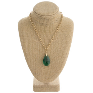 """Drawn cable chain necklace featuring an iridescent teardrop crystal pendant. Pendant approximately 1.5"""". Approximately 20"""" in length overall."""