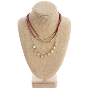 """Layered beaded chandelier necklace with metal accents. Approximately 18"""" in length."""