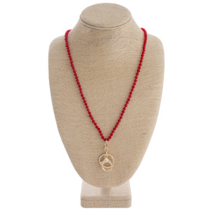 """Long faceted beaded lanyard with keyring holder. Approximately 36"""" in length."""
