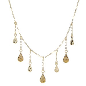 "Natural stone teardrop accented chandelier necklace.   - Approximately 18"" in length with 3"" extender"
