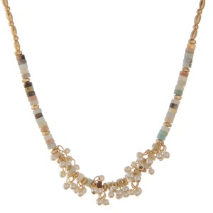"""Gold tone beaded natural stone pearl cluster necklace.  - Approximately 16"""" L  - 3"""" extender"""
