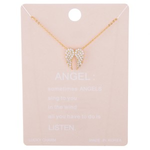"""Dainty rhinestone filled angel wings lucky charm necklace.  - Pendant approximately .5""""  - Approximately 15"""" L with 2"""" extender"""