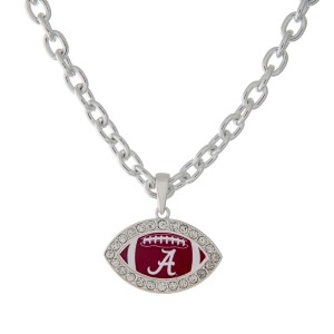 Officially licensed University of Alabama 18 inch necklace featuring a football design and edged in crystal rhinestones.