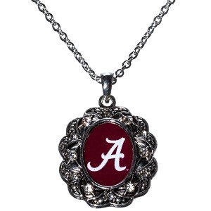 Officially licensed 20 inch Alabama inspired silver tone necklace featuring logo in center.