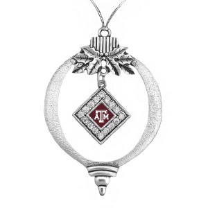 "Texas A&M fans, decorate your Christmas tree this year with this beautiful 3"" pewter Christmas ornament with the official university logo in the pendant."