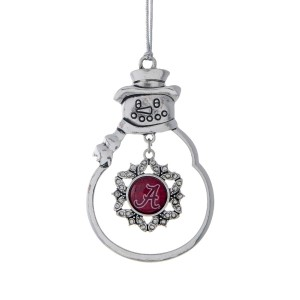 "Bama Fans decorate your Christmas tree this year with this beautiful 3"" pewter Snowman ornament with the officially licensed Crimson Script A pendant."