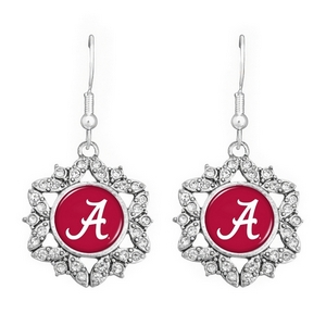 Officially licensed silver tone hook earrings with a starburst design featuring the Alabama logo.