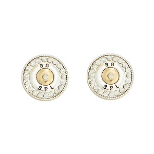 "1/2"" Two tone post style earrings featuring a 38 special bullet decor accented by crystal rhinestones."