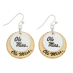 "Mixed metal officially licensed collegiate earrings featuring two disk stamped ""Ole Miss"". Charm approximately 1"" in length. Overall length 1 9/16""."
